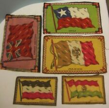 Old Lot 5 Tobacco Silks - Flag of Germany Mexico Bolivia Chili Gt Britian