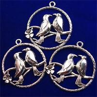 48x3mm 3Pcs Carved Tibetan silver Magpie Round Pendant Bead dy20pj