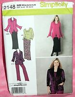 Uncut Simplicity Misses 8-16 Pants Skirt Knit Top & Cardigan Jacket Pattern 2148