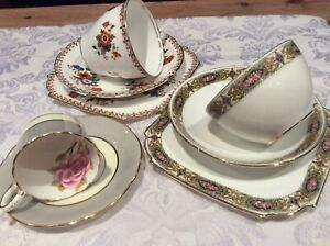 2 X AYNSLEY TRIO  CUP SAUCER PLATE PLUS SMALL COALPORT