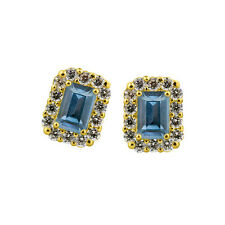 2.49CT Women's 14K Yellow Gold Plated Emerald Cut Aquamarine Stud Earrings