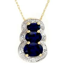 Created Blue Sapphire Diamond Necklace Two Tone Gold SOLID 10k Brand New ttg