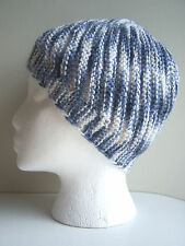 Women's Beanie Hat diagonal pattern hand-knitted Blue White multicolor