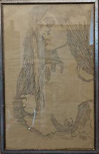 PETROLINI Nicola - Bellissima figura femminile tecnica mista su carta 87x55 cm