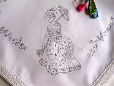 Tablecloth print to embroider Lady & Parasol lace edge cotton table cloth CSOOO3