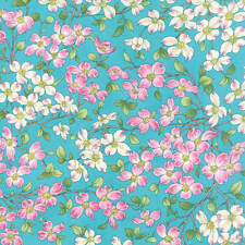 Moda  DOGWOOD TRAIL II 33031 12 Turquoise Quilt Fabric BTY