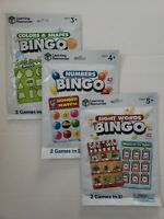 Learning Resources Bingo, Set of 3: Sight Words, Numbers, and Colors and Shapes.