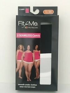 Fruit of the Loom Womens Fit for Me Seamless Plus Size Cami  1X 2X 3X - YOU PICK