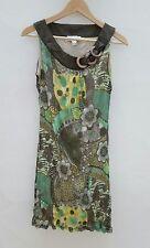 Heine Damen Sommer Kleid Tunika braun gelb Blumen Gr.34 NEU