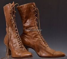 """1900's VICTORIAN Womens Brown Leather Lace-up BOOTS 10"""" Length Antique"""