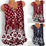 Women Boho Swing Tank Tops Dress Blouse Sleeveless Floral Shirt Beach Plus Size