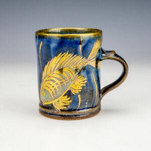 Selbourne Studio Pottery - Stylised Fish & Gilt Decorated Tankard