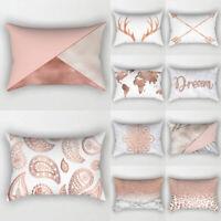 Rose Gold Pink Cushion Cover Waist Pillow Case 30cm*50cm Soft Sofa Home Decor UK