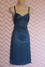 Texsheen Lingerie Blue Long Slip Open Lace Size 36 True Vintage Nylon USA