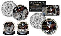 APOLLO 11 50th Anniversary Man on Moon Space JFK Kennedy Half Dollar 2-Coin Set