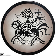 Round Wooden Viking Odin Shield - Norse Armor -- sca/larp/celtic/sheild/painting