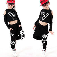 Girl's Modern Children Jazz Hip Hop Dancewear Kids Dance Costumes Top&Shorts