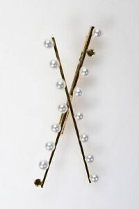 LELET NY Womens Noho Imitation Pearl Criss Cross Bobby Pin Gold Tone