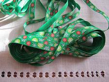 2 x 1 mtr lngths RED & GREEN Christmas Grosgrain Ribbon - 1cm wide.  *NEW*