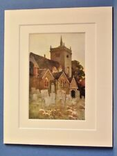 MINSTEAD CHURCH  NEW FOREST VINTAGE DOUBLE MOUNTED HASLEHUST PRINT 10X8 OVERALL