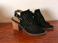 Chinese Laundry Carnival Sandal Black Suede Perforated Peep Toe Heel 38 / 7.5 M