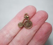 10 Penny Farthing Bicycle Charms, Bicycle Pendants  - 17mm, Antique Bronze