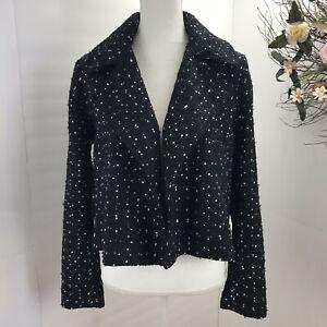 New Ann Taylor Factory   Blazer Moto Jacket blazer Tweed  Black White  Career 12
