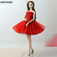 Red Dress Short Dress For Barbie Doll Clothes Vestidoes Clothes For Barbie Dolls