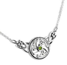 """Sterling Silver Swirled Celtic Knot Round Green Peridot 17"""" Necklace"""