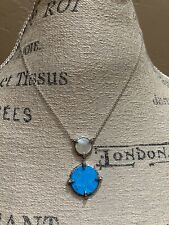 Judith Jack 925 Sterling Silver Marcasite Necklace w Turquoise & Mother of Pearl