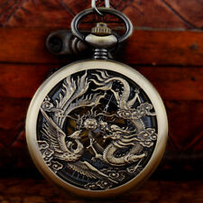 Steampunk Engraved Dragon Vintage Mechanical Pocket Watch Chain Fob Retro Gift