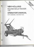 Original New Holland Model 175 Round Bale Feeder Operators Manual 43017510 08/87
