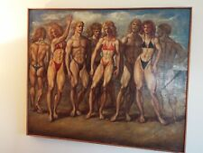 20TH C. AMERICAN SCHOOL OIL PAINTING A DAY AT THE BEACH STYLE OF REGINALD MARSH