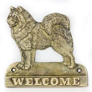 """Samoyed - brass tablet """"WELCOME"""" with image of a dog, Art Dog AU"""