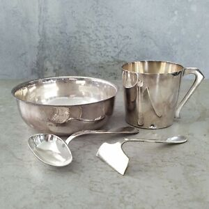 Art Deco Heckworth Silver Plated Christening Cup Bowl Utensils Engraved name 30s