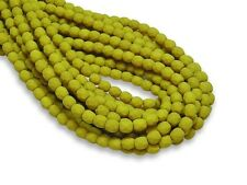 4mm Saturated Chartreuse Czech Glass Firepolished Round Beads (50) #2895