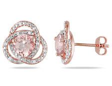 1.75 Quilates (Ctw) Morganite Brincos Ponto De Luz Com Diamantes 1/10 Quilates (Ctw) Em Rose