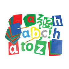 Set Of 27 Large Alphabet Lower Case Stencils Washable With Punctuation Mark