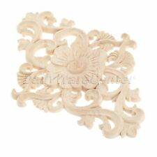 Vintage Wood Carved Unpainted Onlay Applique Flower Decal Furniture Home Decor