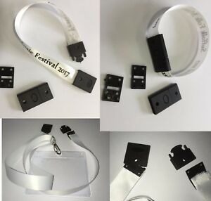 10 or 50pk black wristband or lanyard NO SEW safety release clasp 15 or 20mm