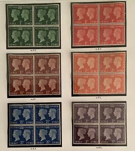 GB 1940 Set of 6 Centenary of First Adhesive Stamps Bocks of 4
