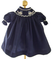 """18"""" Doll Clothes Navy Smocked Dress Embroidered w/ Whales fits American Girl"""