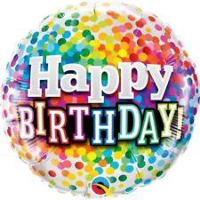 """Happy Birthday Regenbogen Konfetti 18"""" Folien Ballon für Luft / Helium Qualatex"""