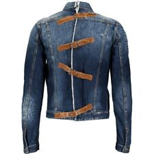 £1,239 Dsquared2 Designer Distressed Denim & Leather Jacket-Made in Italy