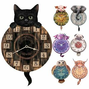 Tickin' Animal Shaped Picture Wall Clock Swinging Tail Pendulum Battery Operated