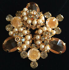 Vintage Schreiner Brooch Pin~Amber/Topaz/Gray/Clear Golden~RS/Pearls/Gold Tone