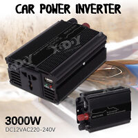 3000W Inversor de Corriente Convertidor DC24V TO AC220V Power Inverter USB Port