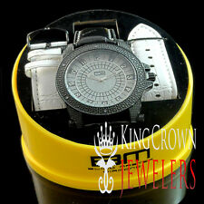 MENS REAL GENUINE DIAMOND 2 TONE BLING MASTER WATCH LEATHER BAND ILLUSION DIAL