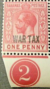 BAHAMAS 1918 SG97 GV 1d. CARMINE OVPT WAR TAX TYPE 11 - CV £5  -  MNH
