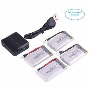 4PCS 650mAh 3.7V Lipo Akku + USB Ladegerät Für Syma X5C X5SC X5SW RC Drohne Neu